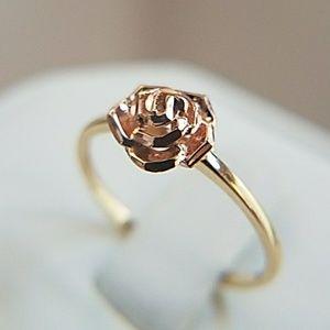14K Yellow Gold Rose Gold Rose Flower Ring